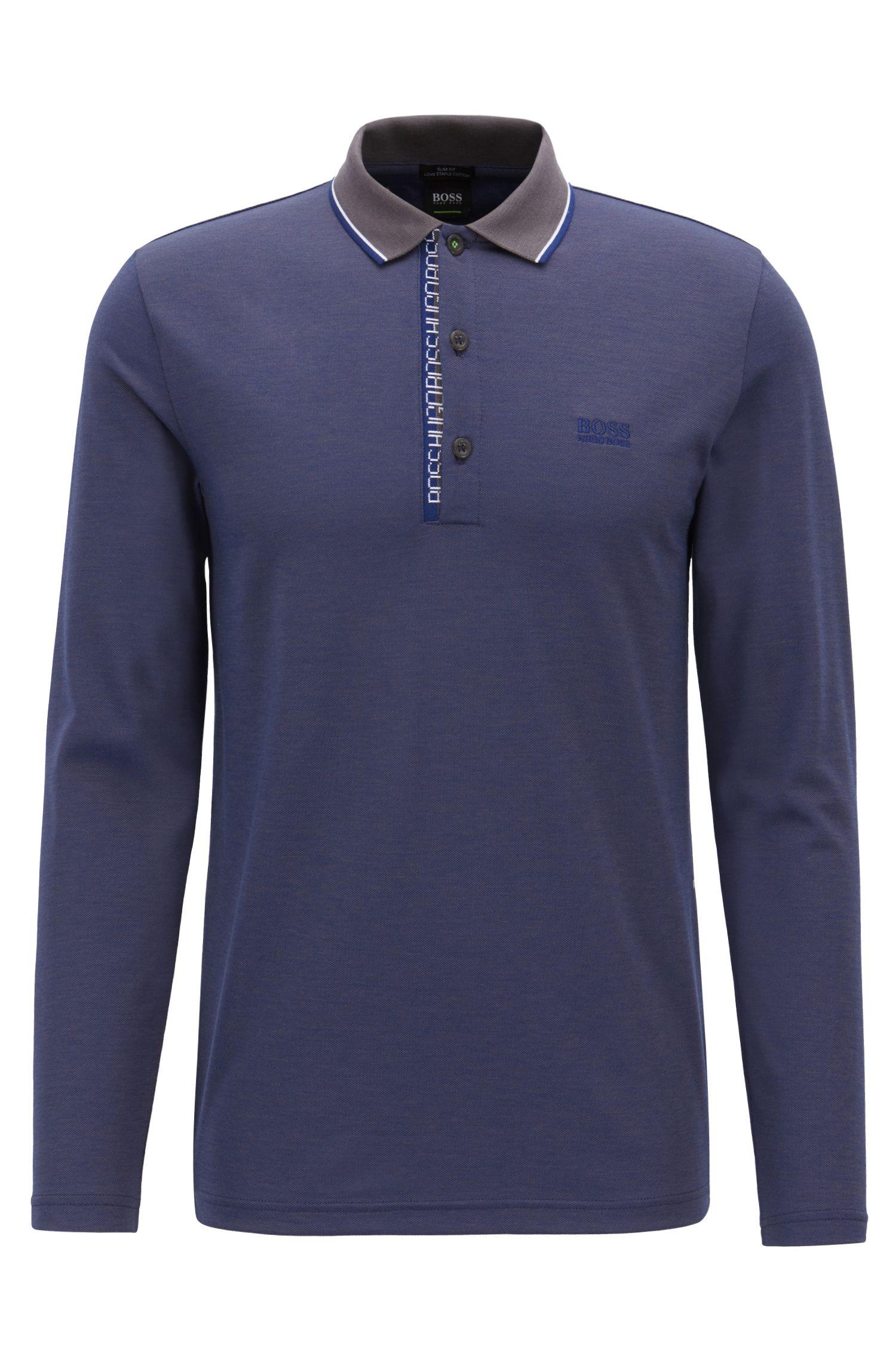 Longsleeve-Poloshirt aus Baumwoll-Piqué mit Logo-Detail, Dunkelgrau