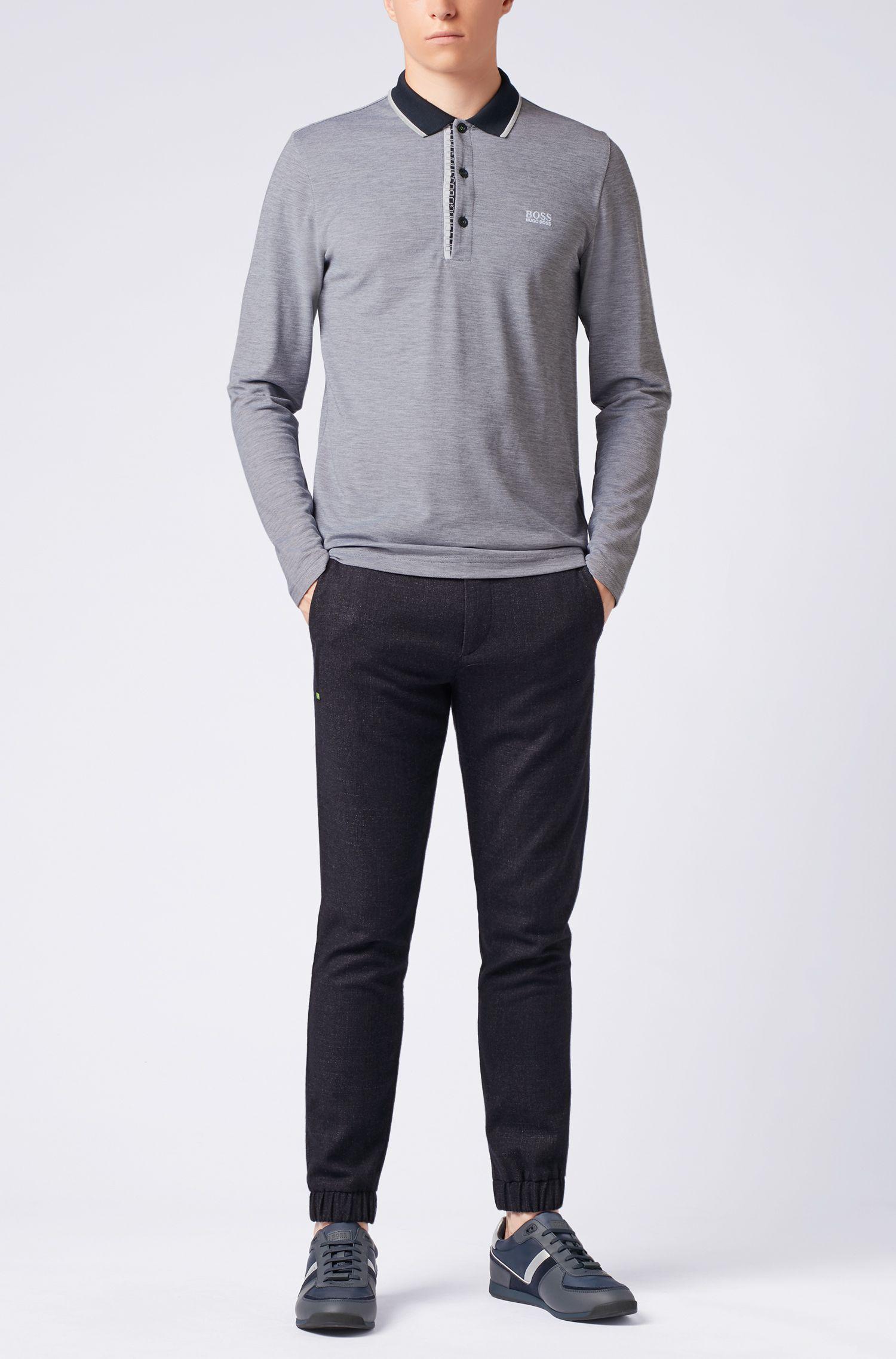 Polo à manches longues en coton orné d'un logo, Bleu foncé