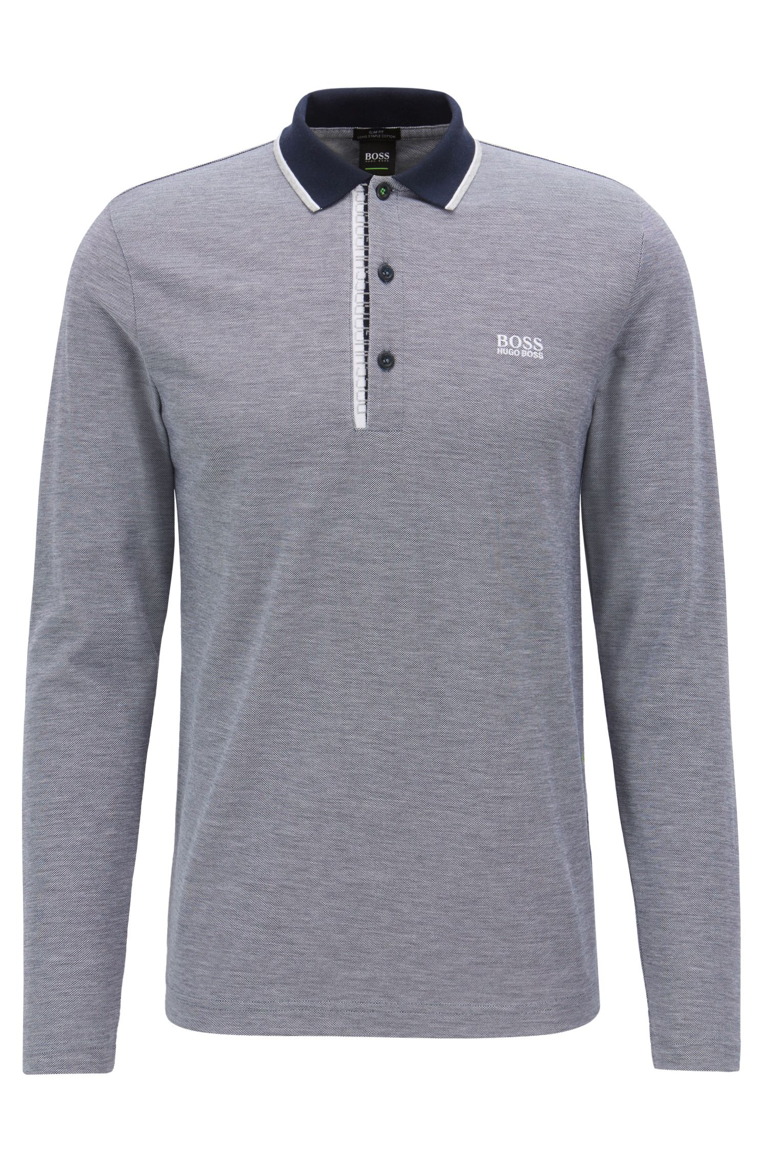 Long-sleeved polo shirt in cotton with logo detail
