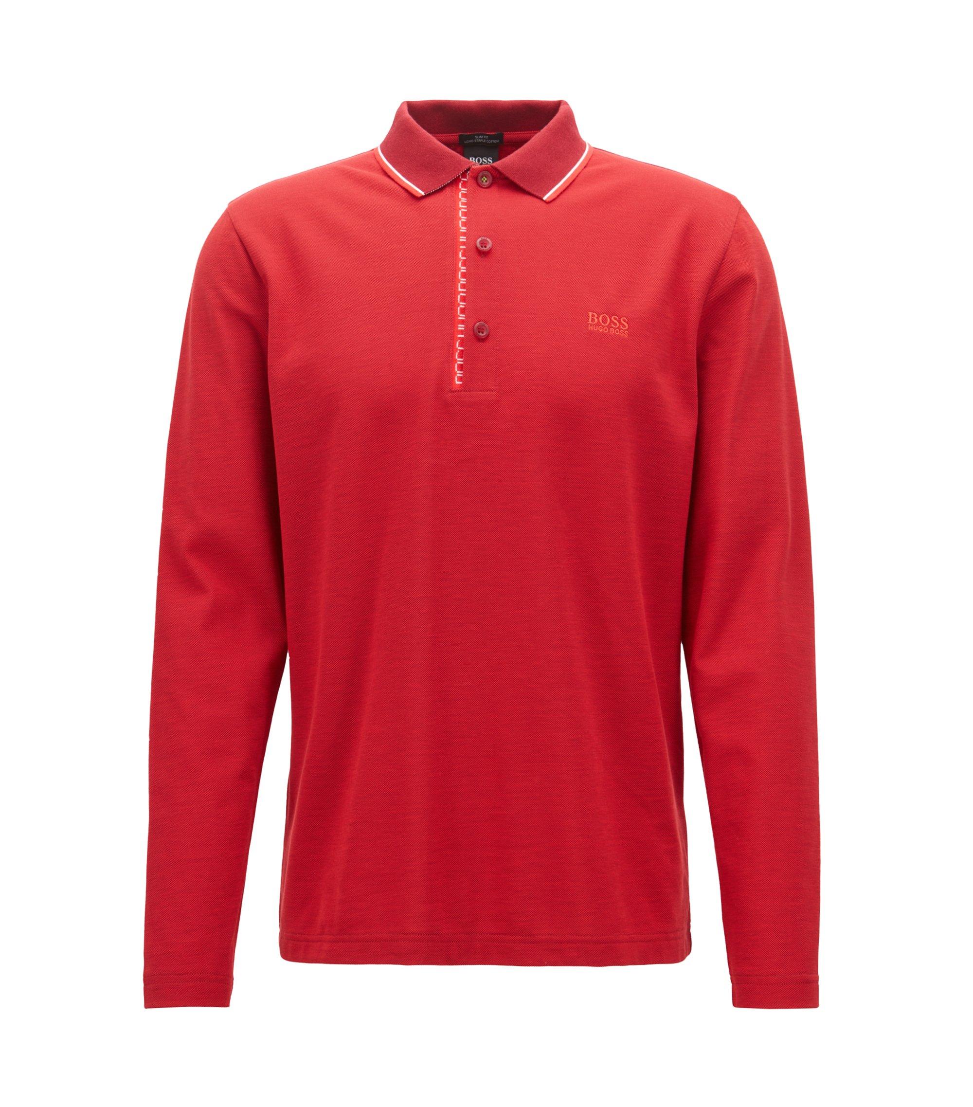 Longsleeve-Poloshirt aus Baumwoll-Piqué mit Logo-Detail, Rot