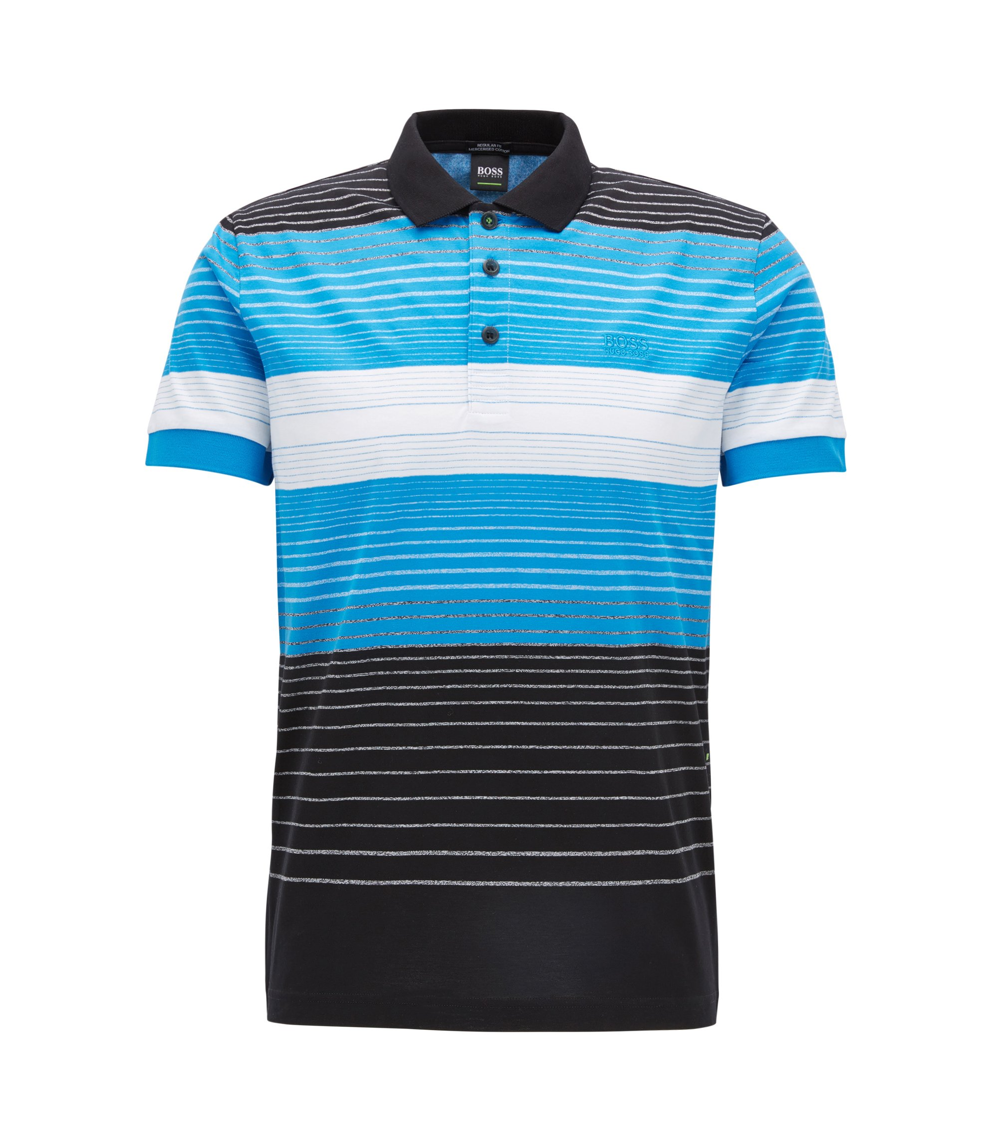 Regular-fit polo shirt in mercerised cotton, Patterned