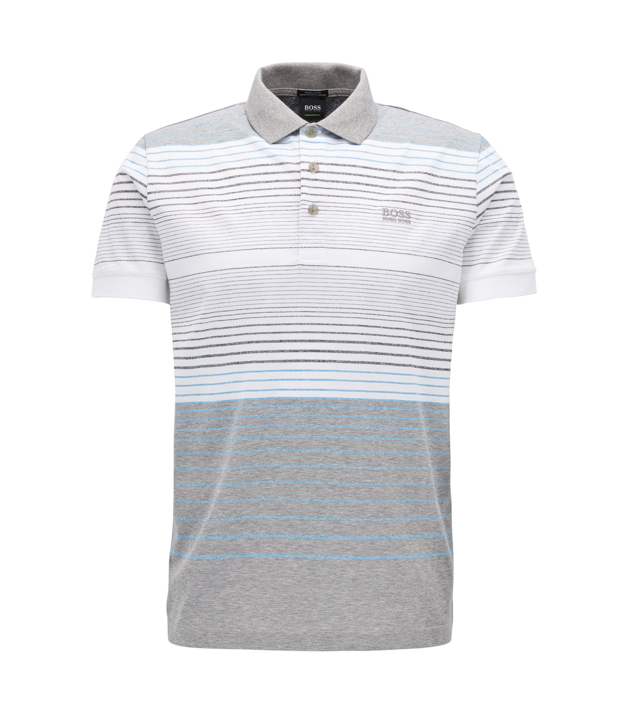Polo Regular Fit en coton mercerisé, Gris chiné