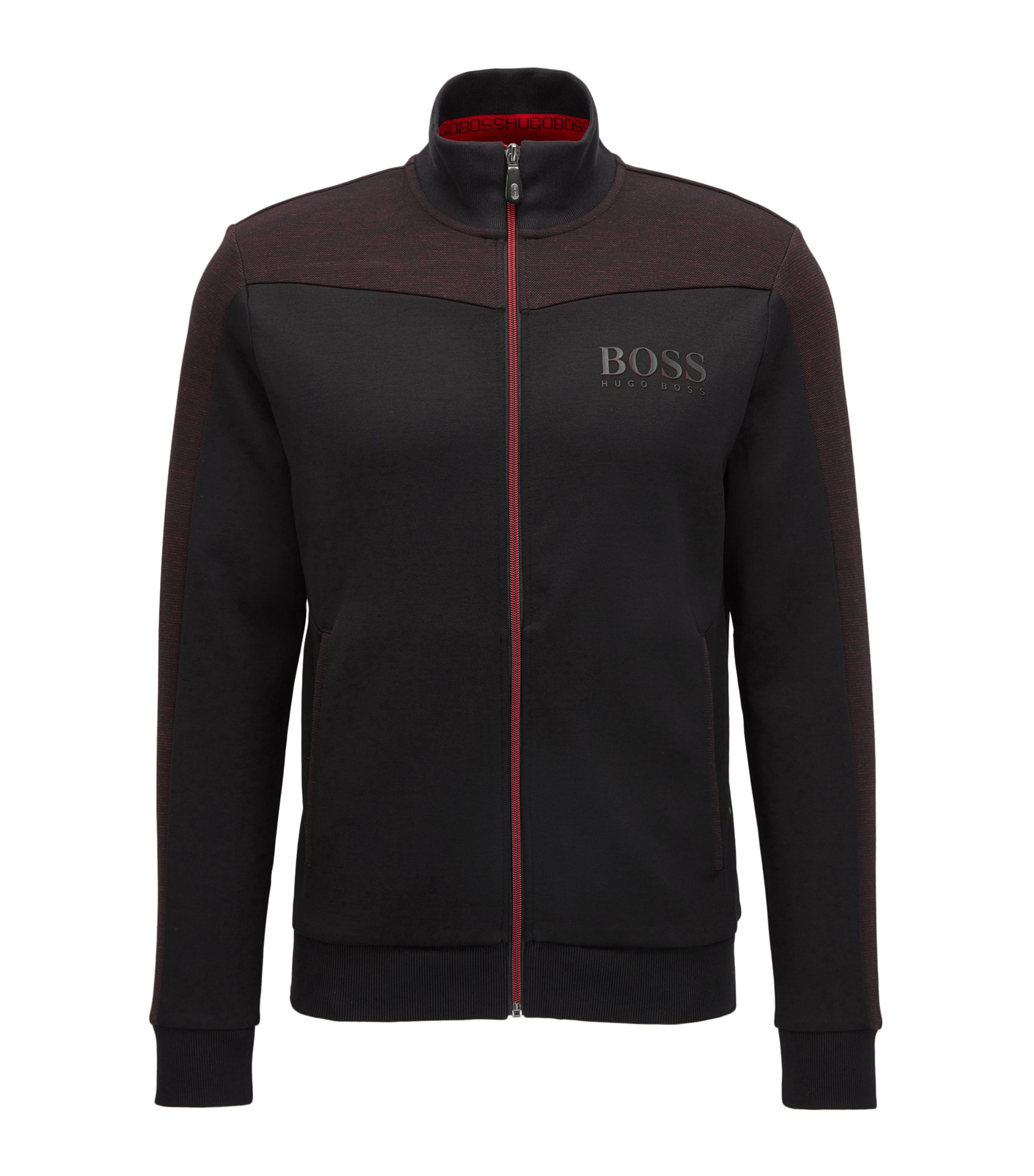Regular-fit jacket in a cotton blend, Black