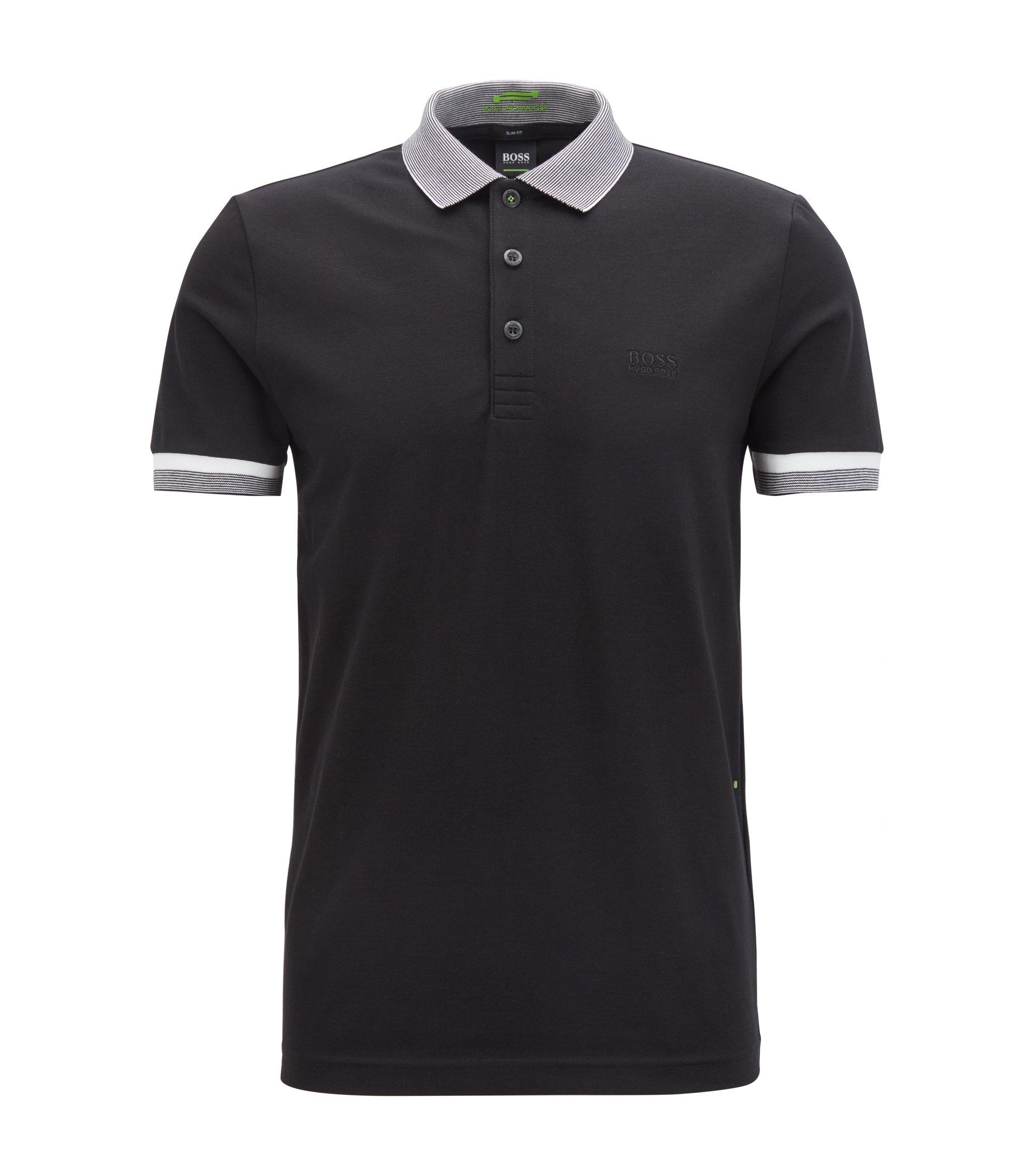 Polo Slim Fit en coton mélangé avec la fibreS.Café®, Noir