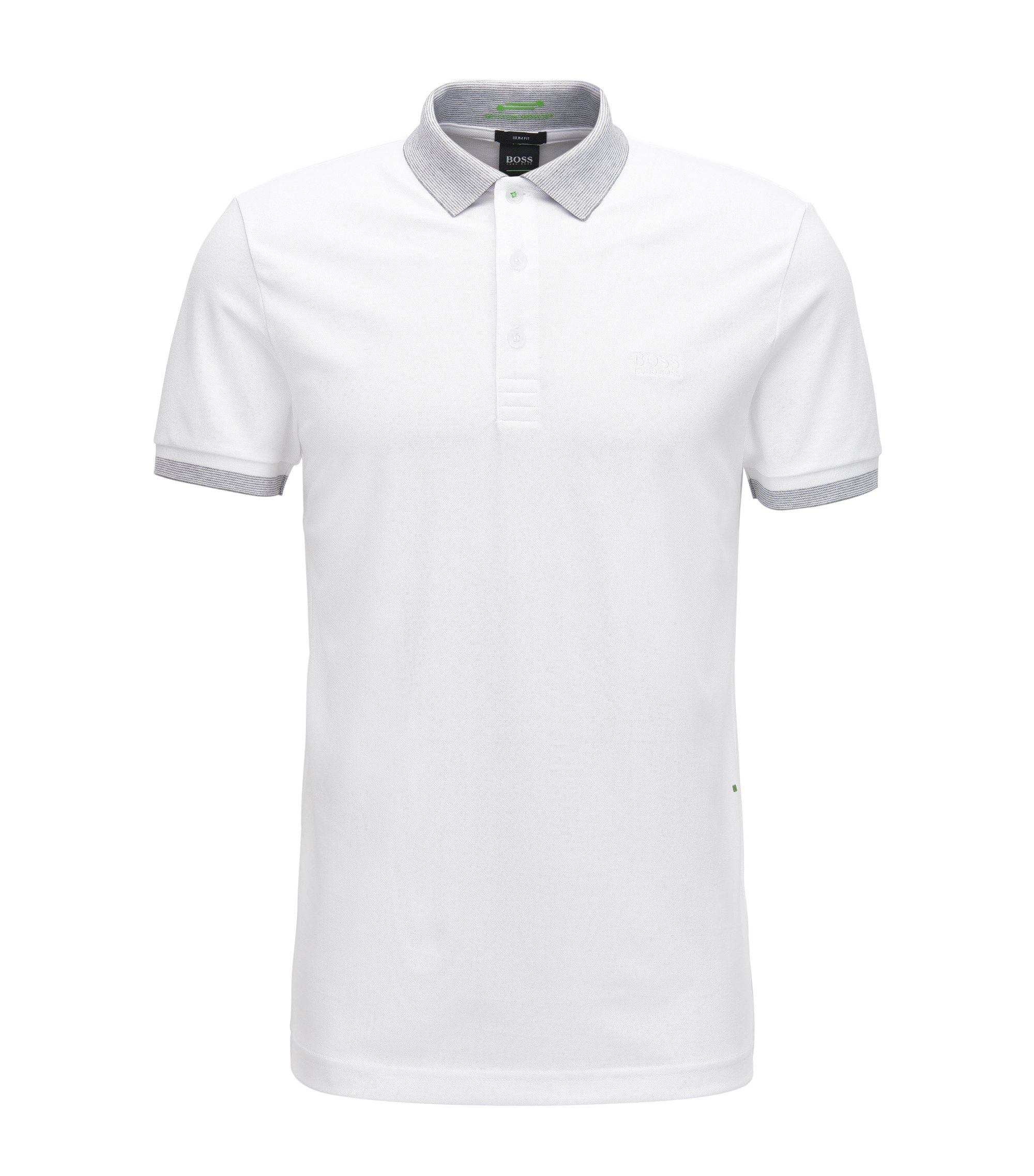 Slim-Fit Poloshirt aus elastischem Baumwoll-Mix mit S.Café®-Technologie, Weiß