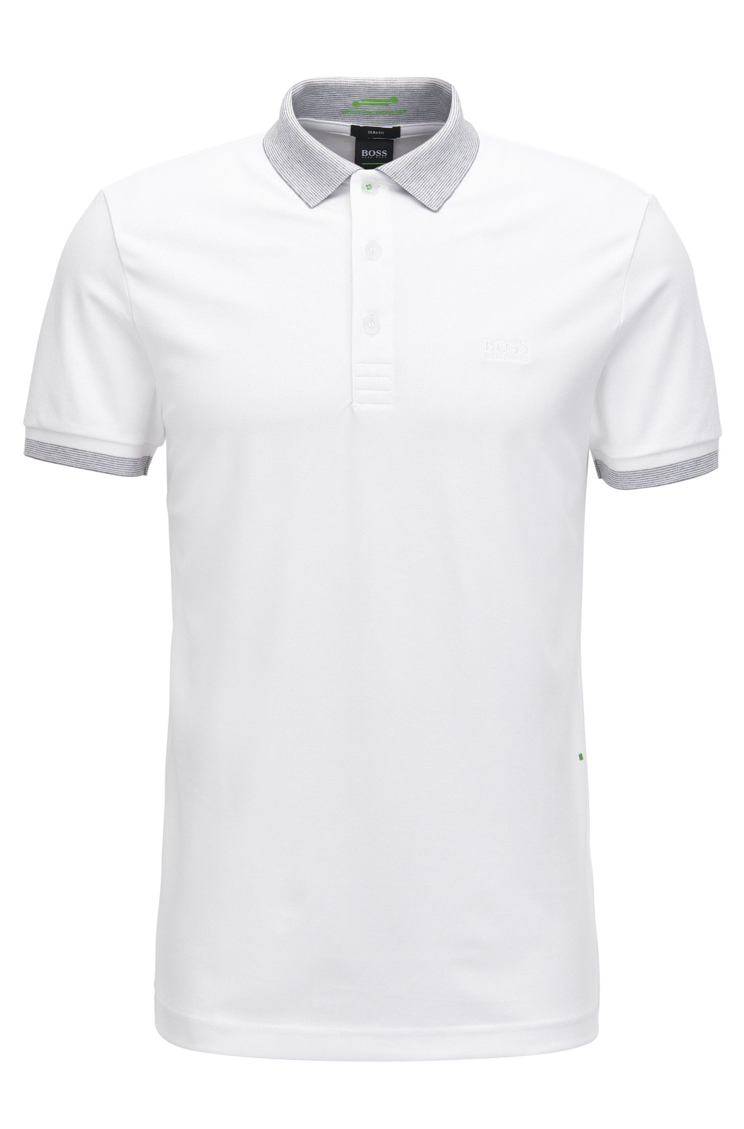 Slim-fit cotton-blend polo shirt with S.Café®