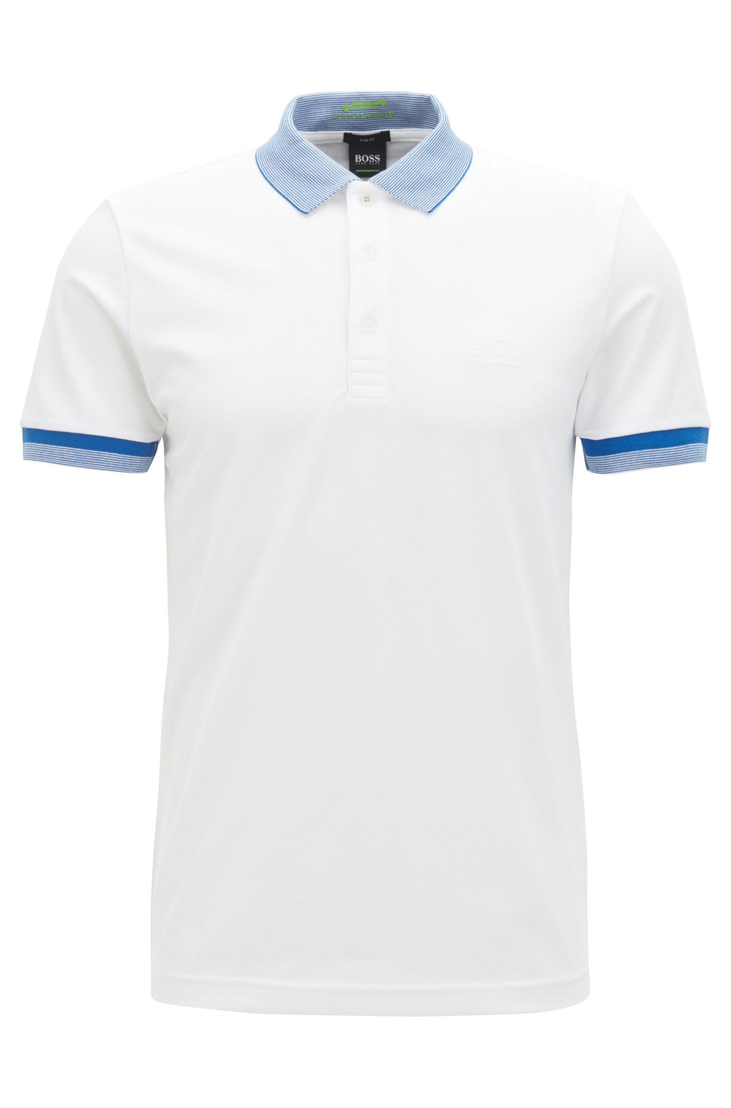 Slim-Fit Poloshirt aus elastischem Baumwoll-Mix mit S.Café®-Technologie