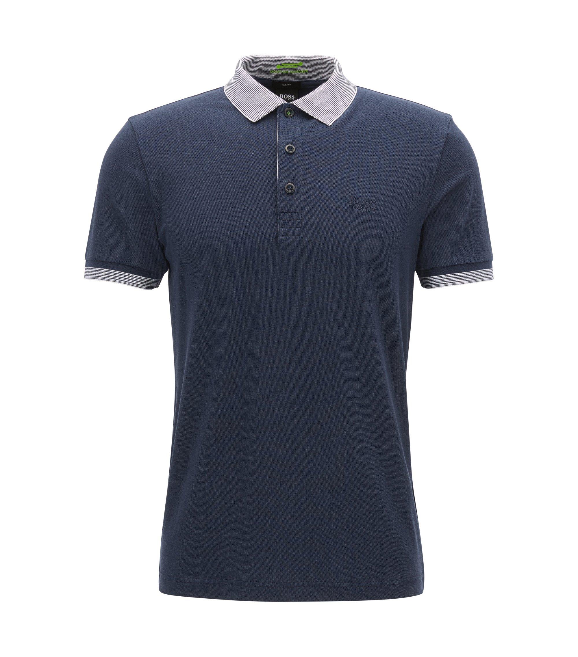 Polo slim fit in misto cotone con S.Café®, Blu scuro