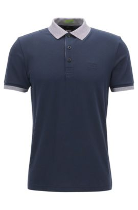 Polo slim fit in misto cotone con S.Café®, Blu scuro