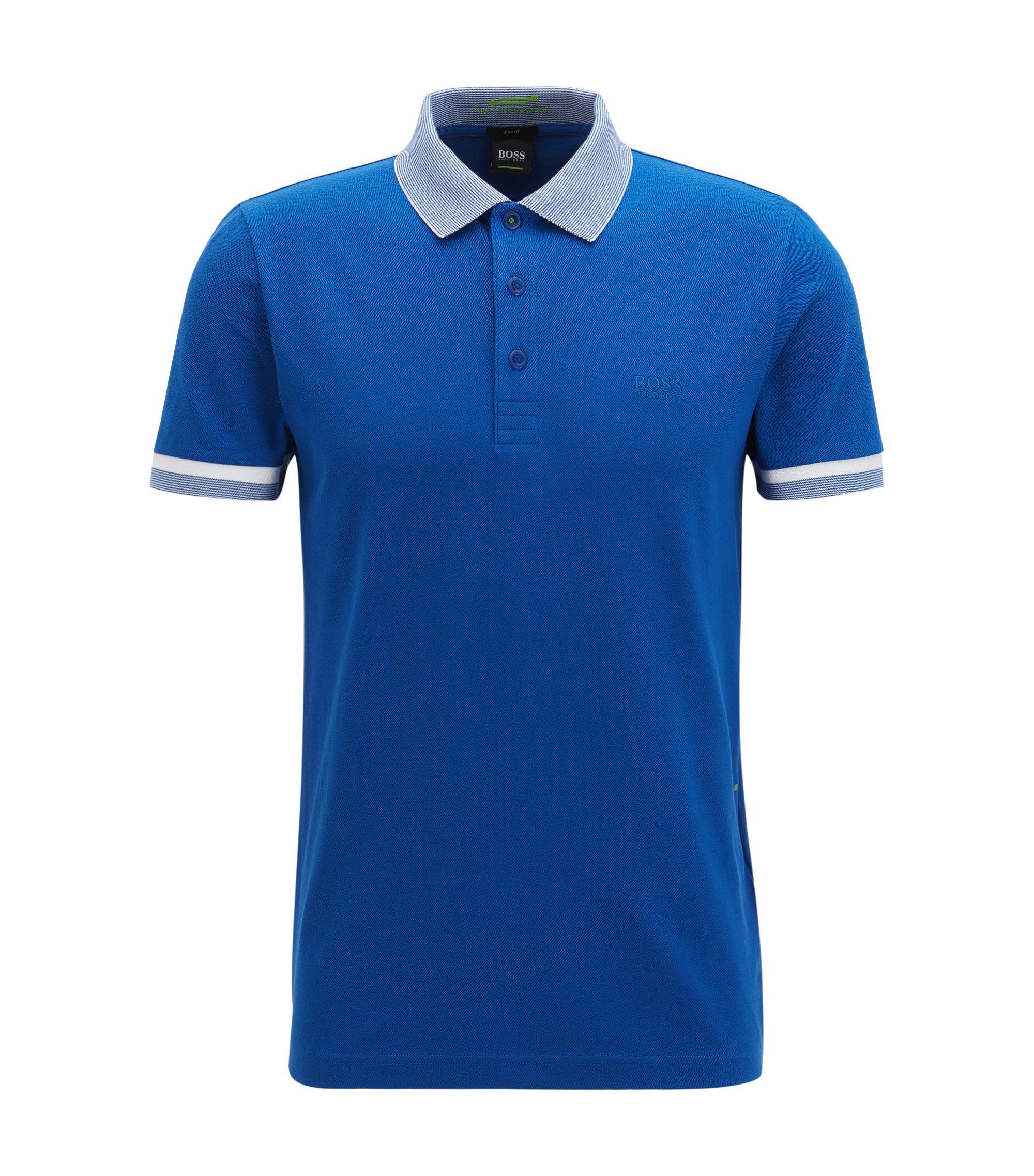 Slim-Fit Poloshirt aus elastischem Baumwoll-Mix mit S.Café®-Technologie, Blau