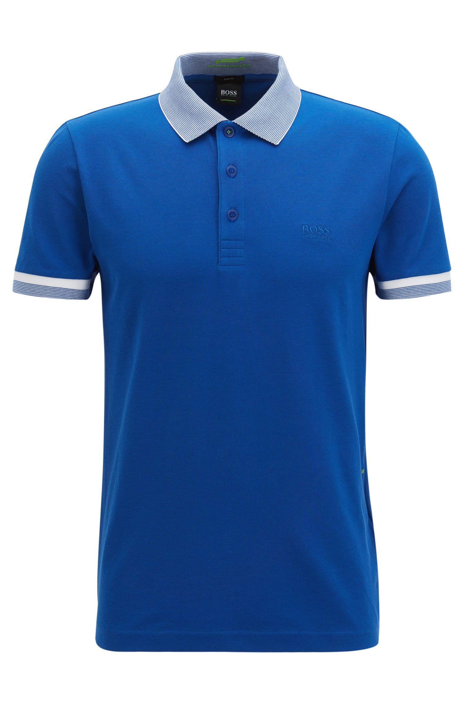 Slim-fit cotton-blend polo shirt with S.Café®