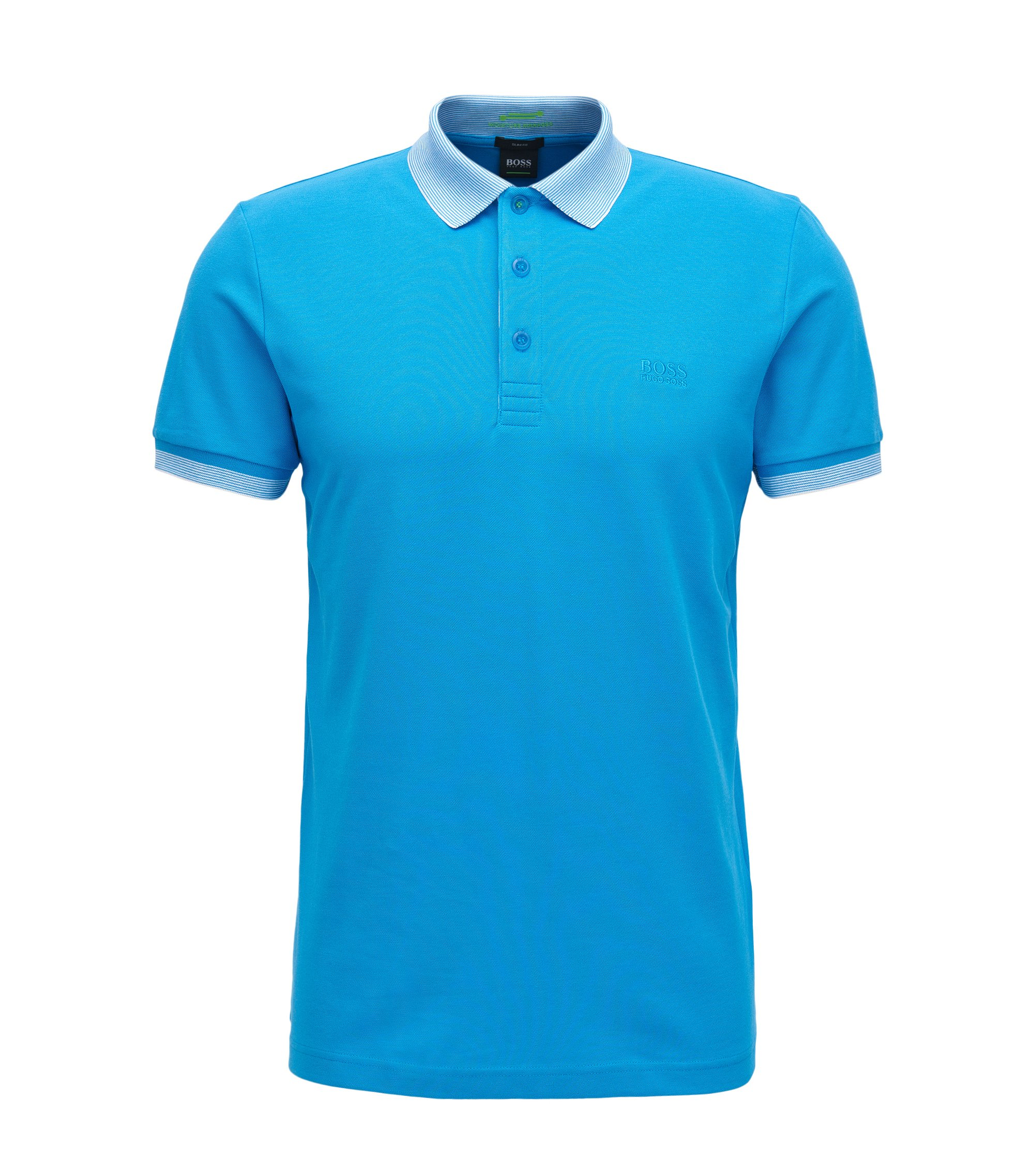 Slim-Fit Poloshirt aus elastischem Baumwoll-Mix mit S.Café®-Technologie, Türkis
