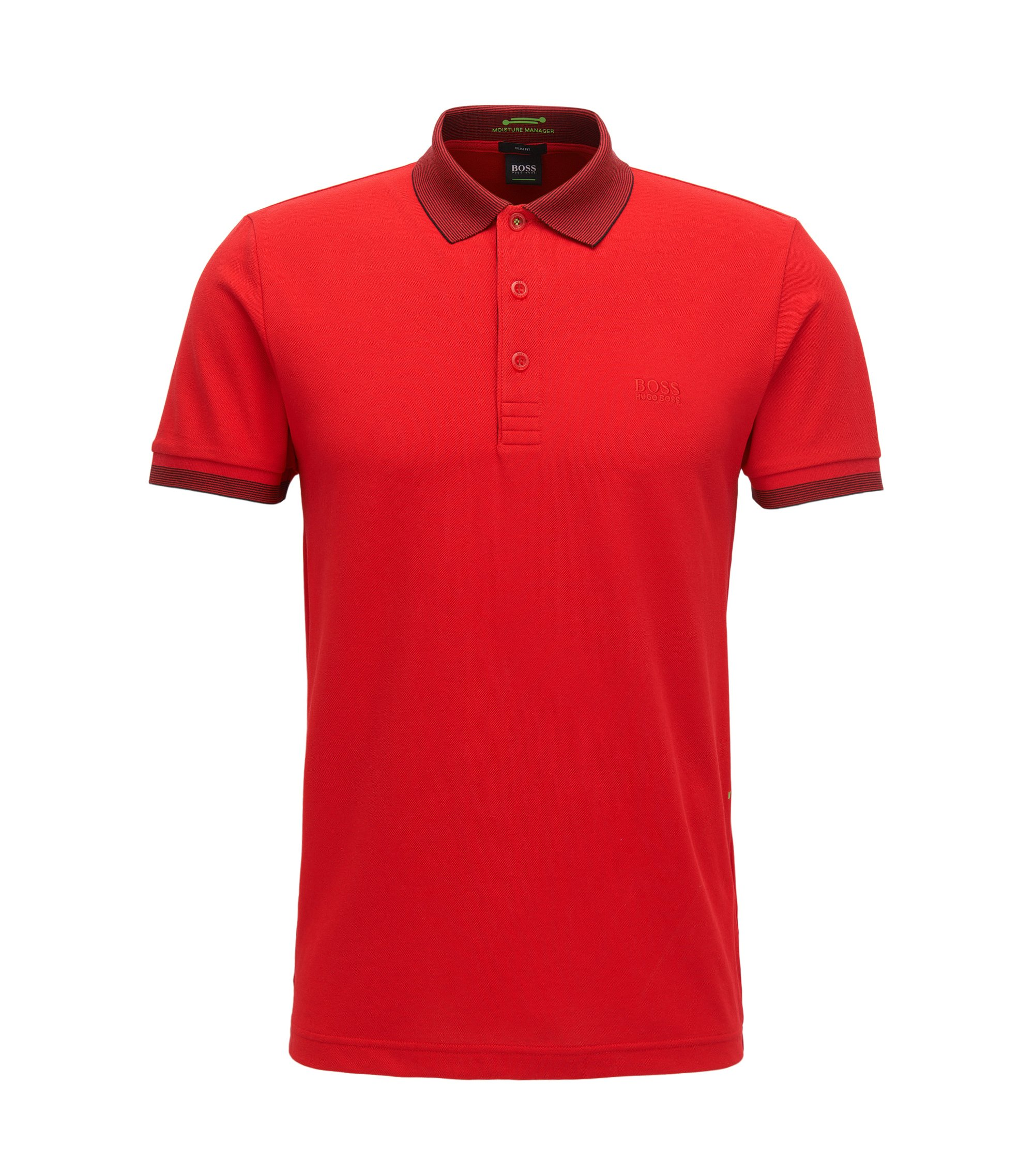 Slim-fit cotton-blend polo shirt with S.Café®, Red