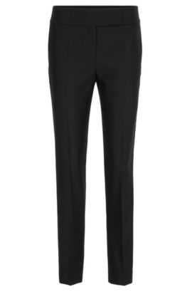 Regular-fit tuxedo trousers in virgin wool, Black