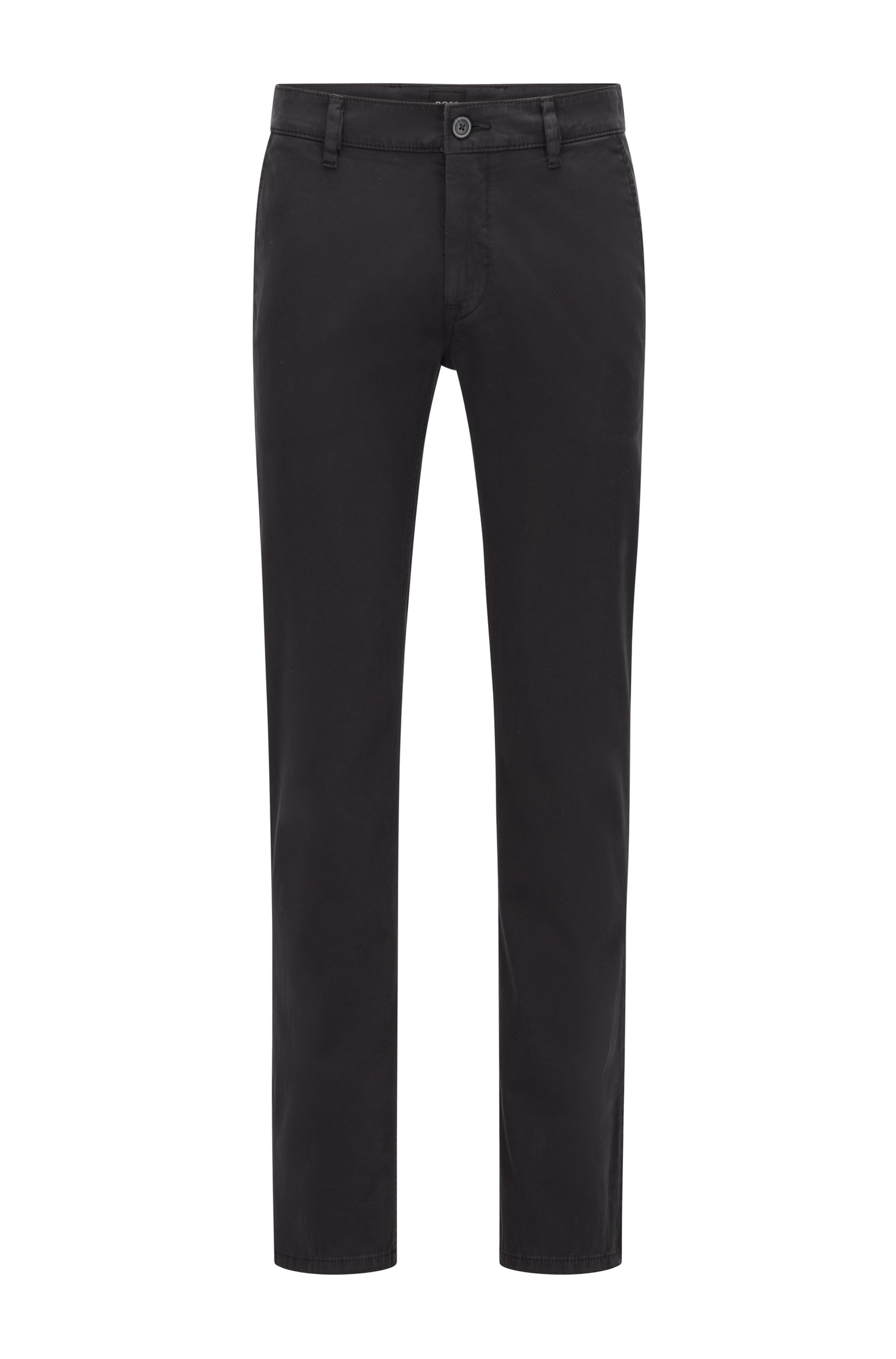 Chino casual Slim Fit en coton stretch brossé, Noir