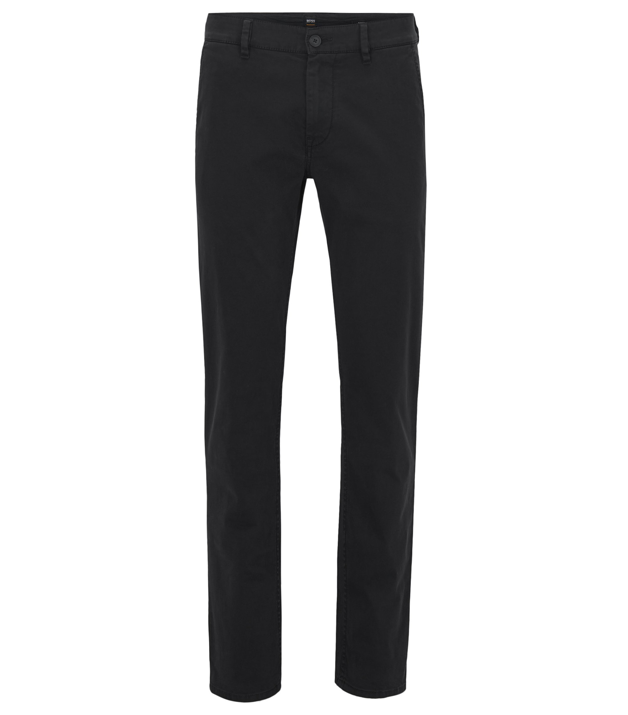 Slim-Fit Casual-Chino aus angerauter Stretch-Baumwolle, Schwarz
