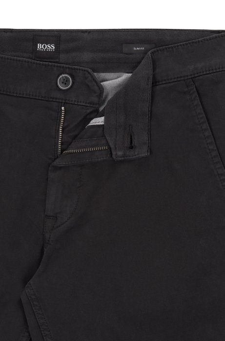 presenting new product sale usa online BOSS - Slim-fit casual chinos in brushed stretch cotton