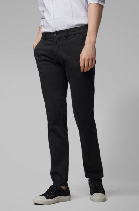 Slim-fit chinos in brushed stretch cotton, Black