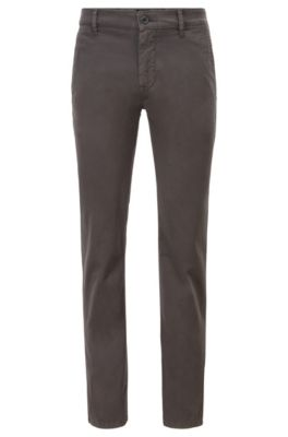 Slim-fit casual chinos in brushed stretch cotton, Anthracite