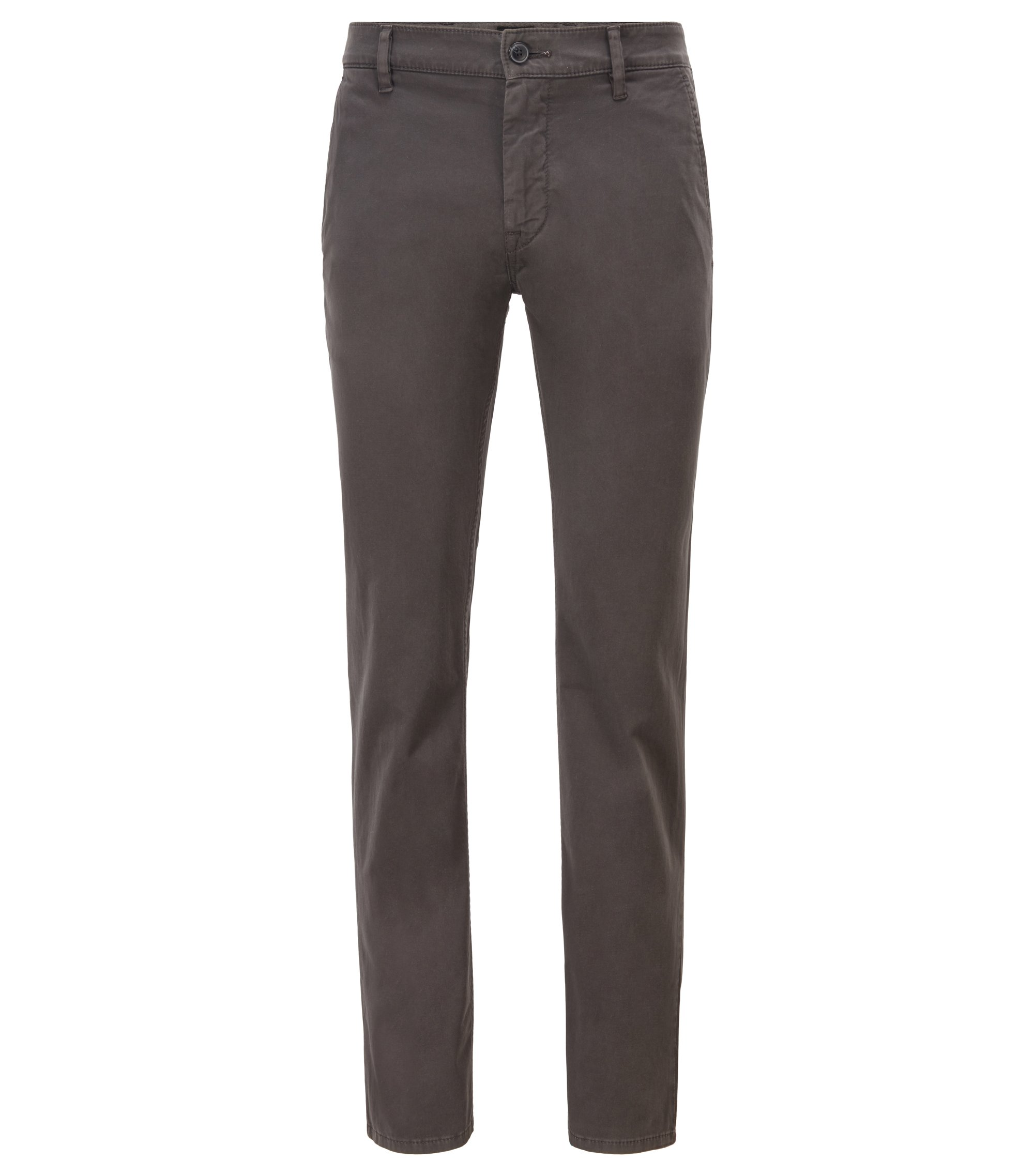 Slim-Fit Casual-Chino aus angerauter Stretch-Baumwolle, Anthrazit