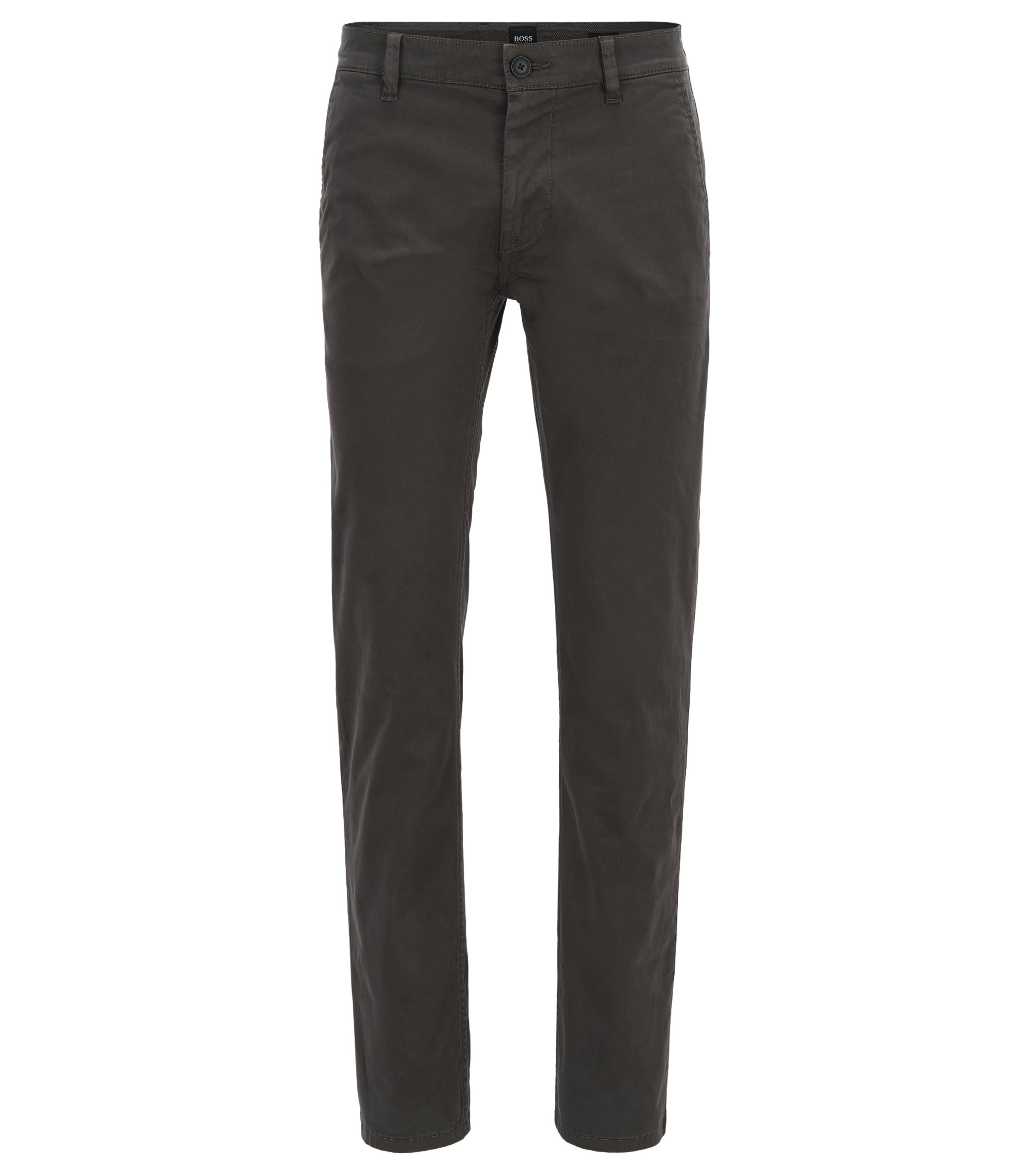 Chino casual Slim Fit en coton stretch brossé, Anthracite