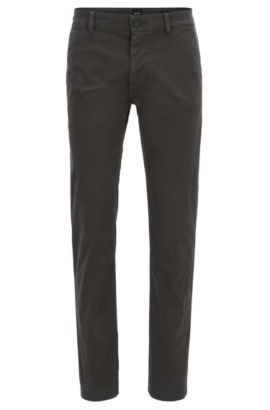 Slim-fit trousers in stretch cotton, Anthracite