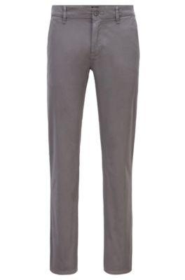 Chino casual Slim Fit en coton stretch brossé, Gris sombre