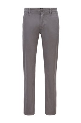 Chino casual Slim Fit en coton stretch brossé, Gris