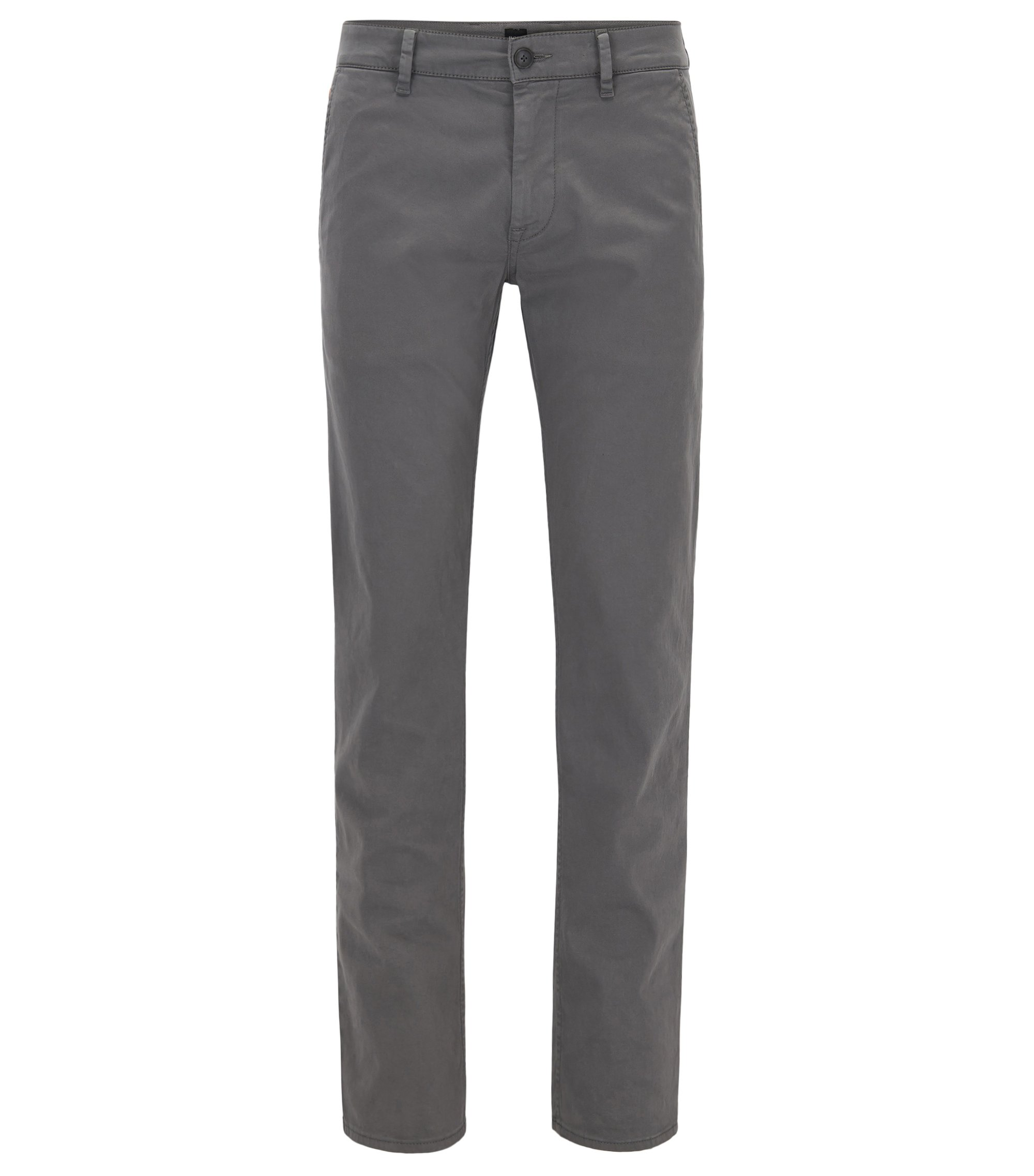 Slim-Fit Casual-Chino aus angerauter Stretch-Baumwolle, Dunkelgrau