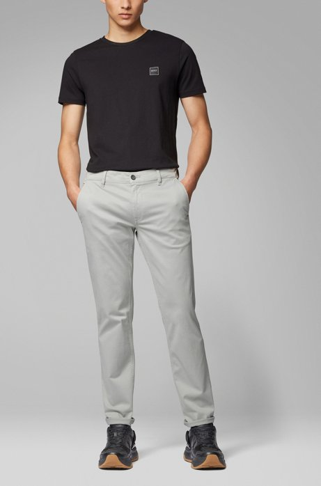 Slim-fit casual chinos in brushed stretch cotton, Grey