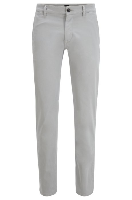Slim-Fit Casual-Chino aus angerauter Stretch-Baumwolle, Silber