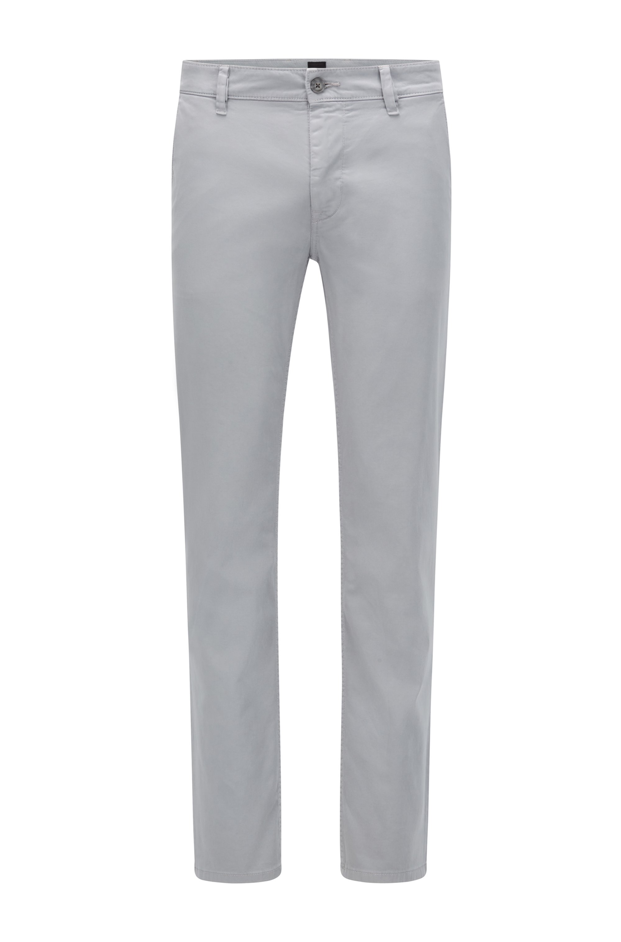 Slim-fit casual chinos in brushed stretch cotton, Silver
