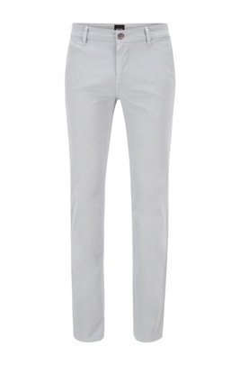 Slim-Fit Casual-Chino aus angerauter Stretch-Baumwolle, Hellgrau