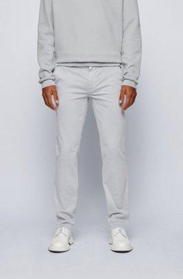 Chino casual Slim Fit en coton stretch brossé, Gris chiné