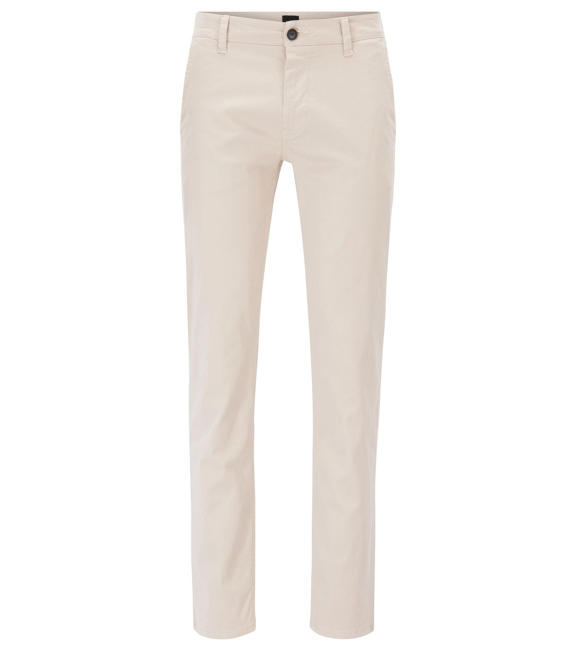 Slim-fit casual chinos in brushed stretch cotton, Light Beige