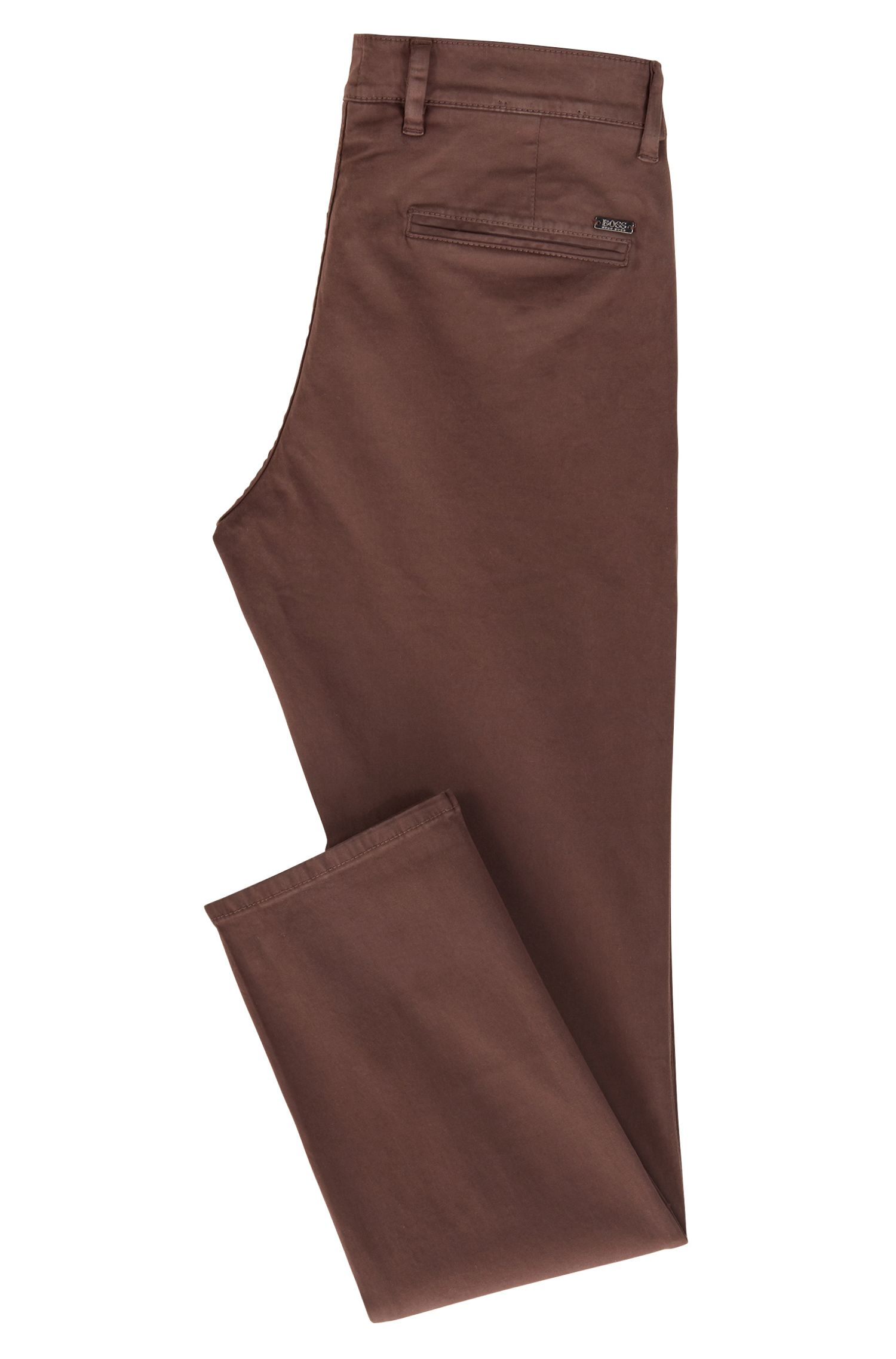 Slim-fit casual chino van geborstelde stretchkatoen, Donkerbruin