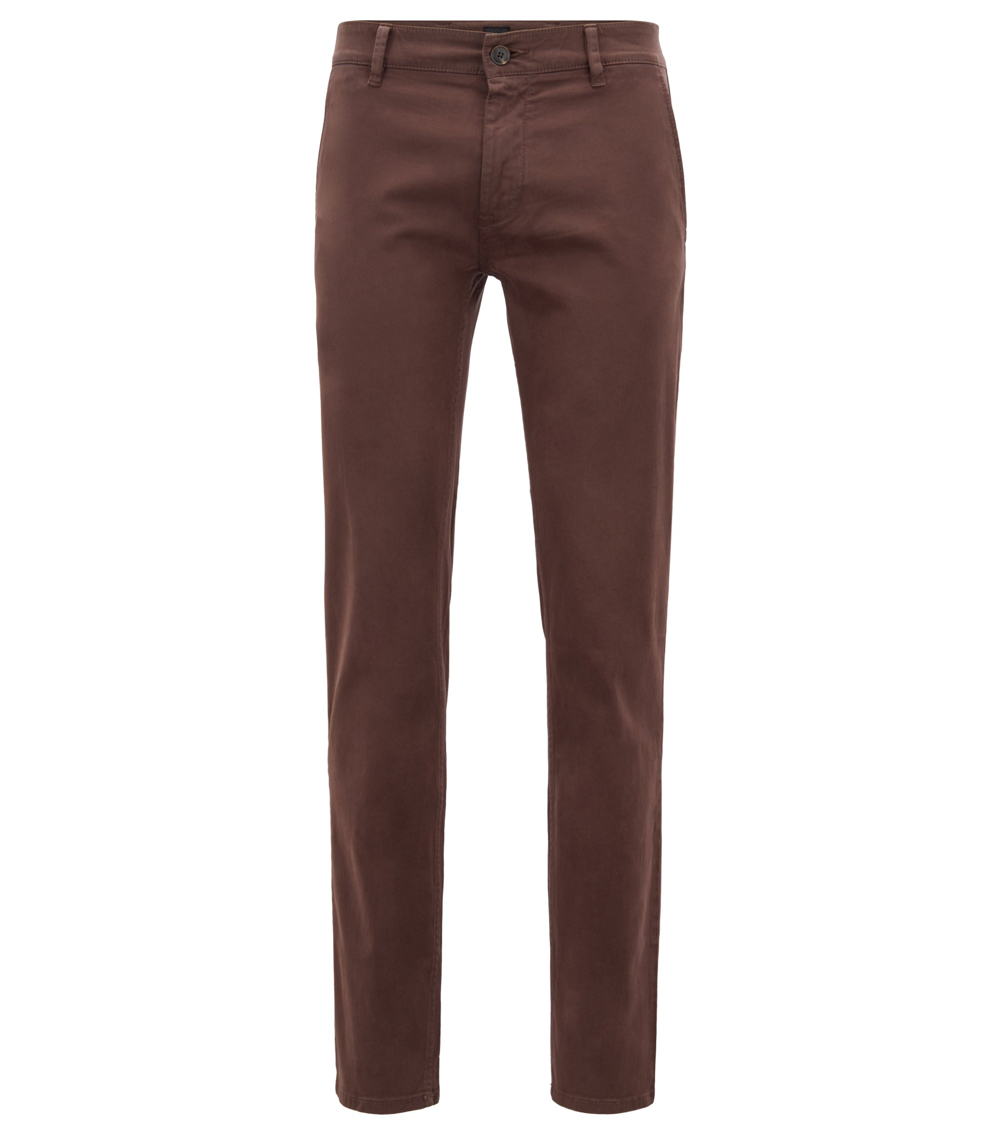 Slim-fit casual chinos in brushed stretch cotton, Dark Brown