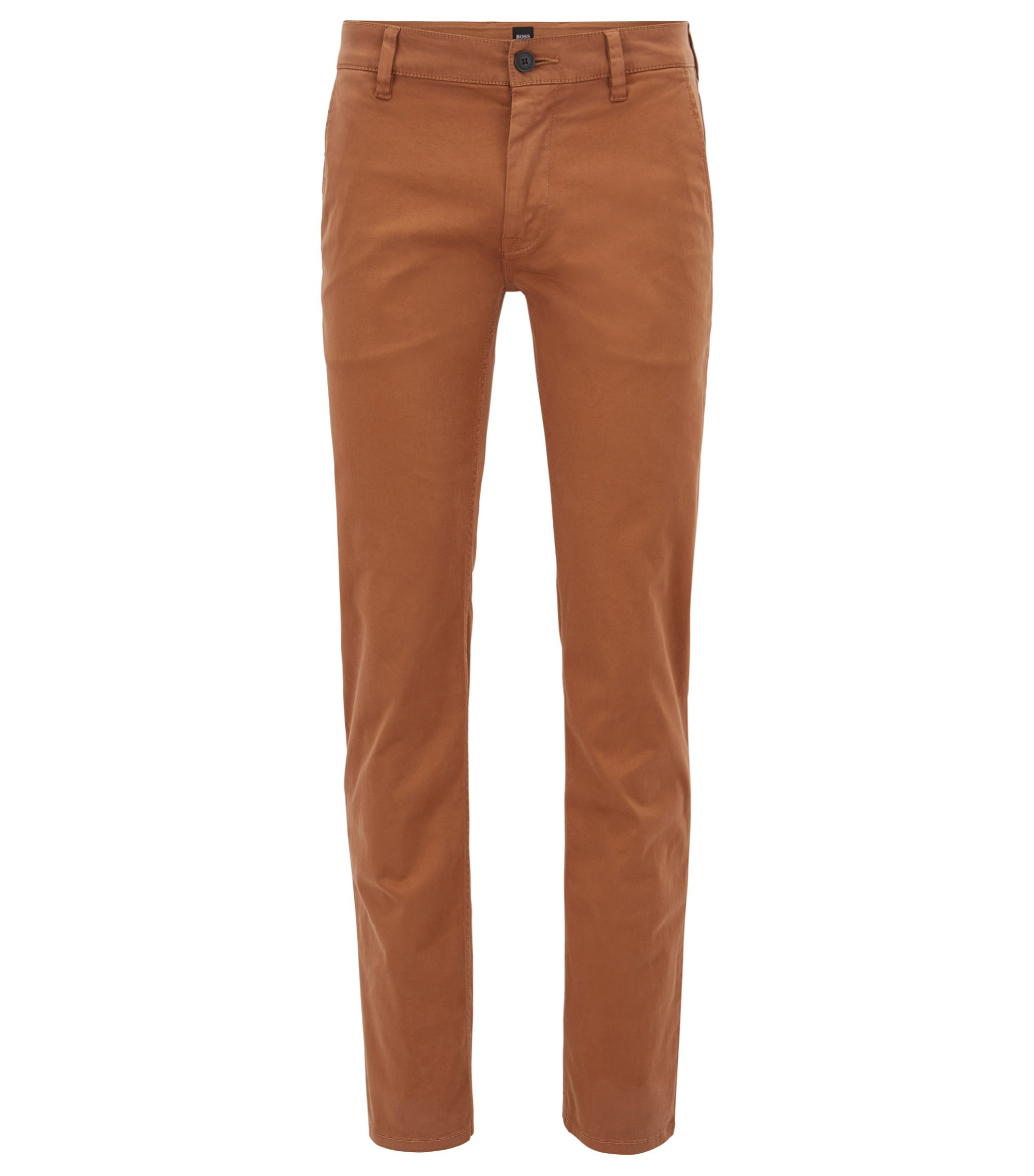 Slim-fit trousers in stretch cotton, Brown