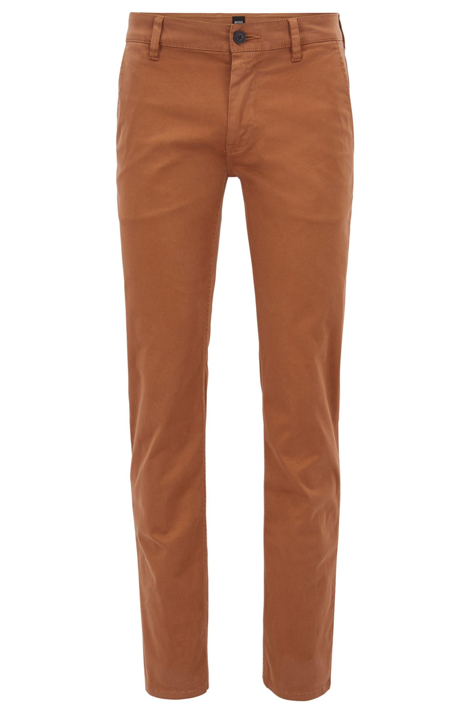 Pantalones slim fit en algodón elástico