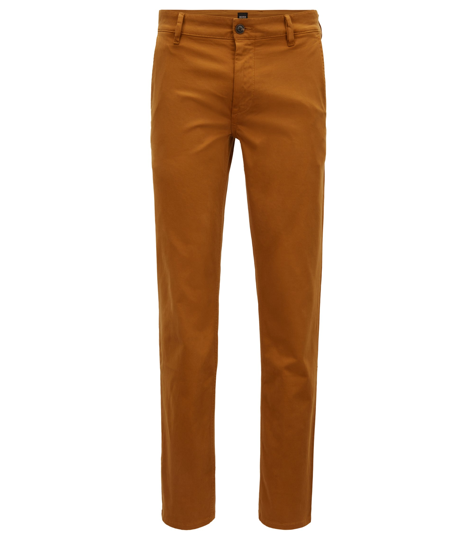 Chino casual Slim Fit en coton stretch brossé, Marron