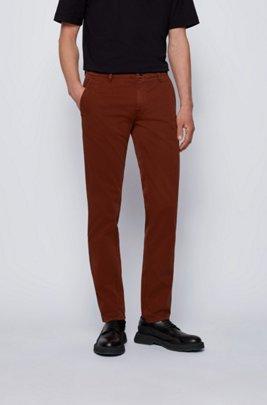 Chino casual Slim Fit en coton stretch brossé, Marron