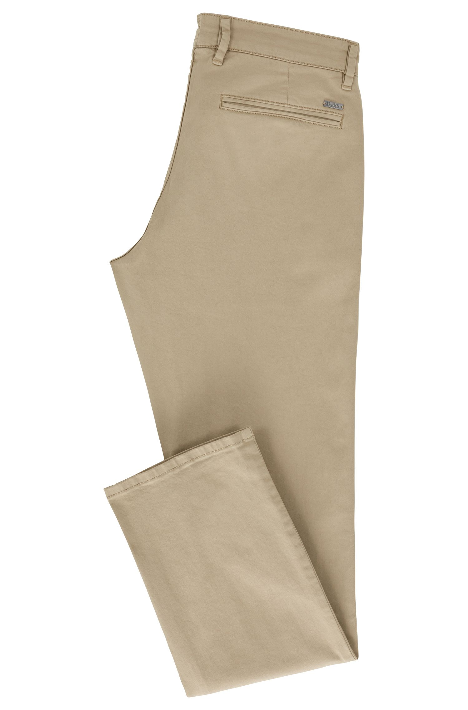 Slim-fit casual chinos in brushed stretch cotton, Beige