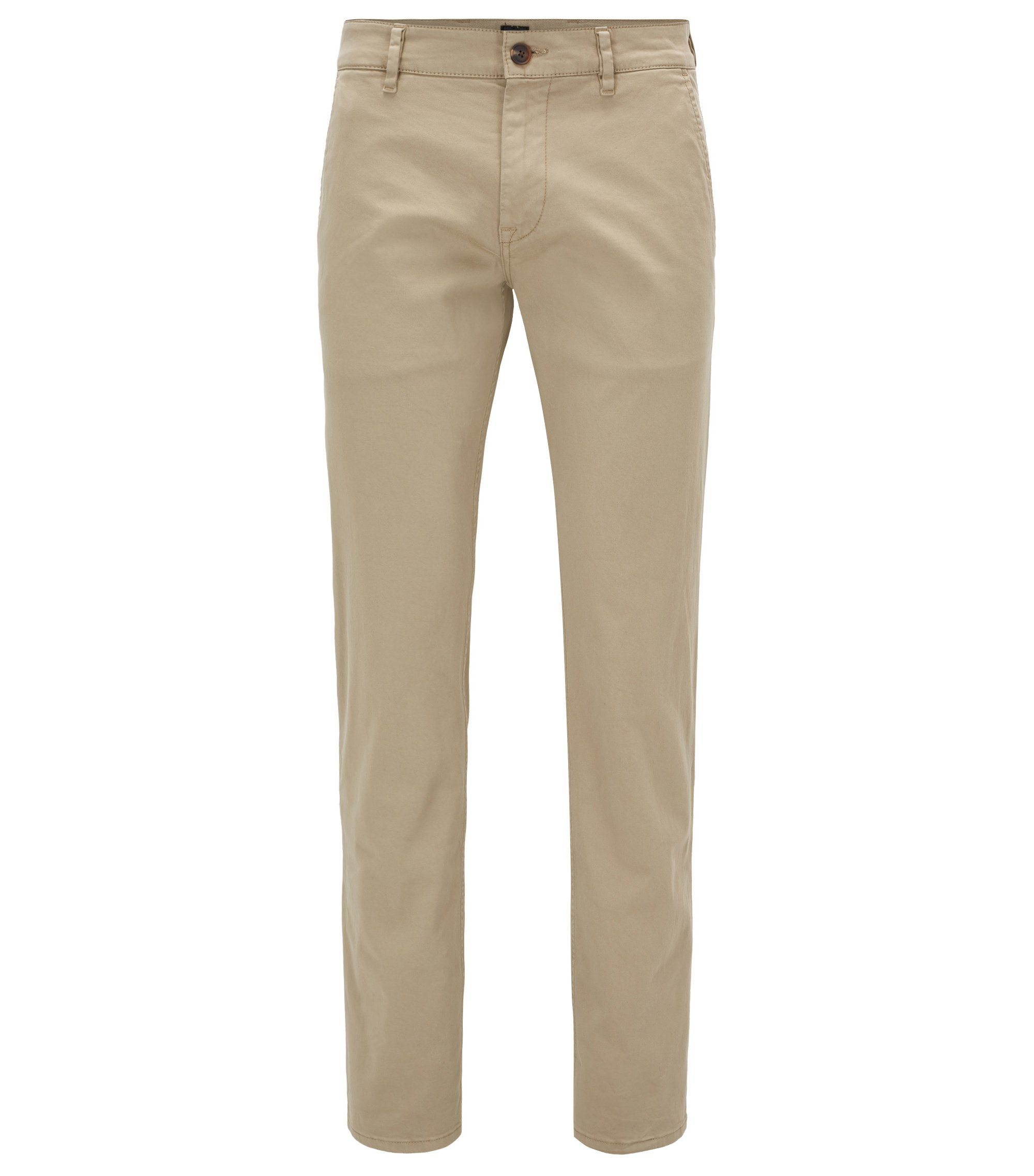 Slim-fit trousers in stretch cotton, Beige