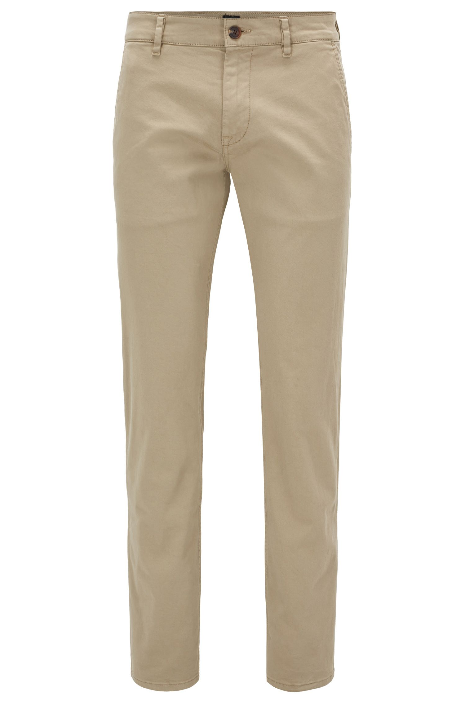 Slim-Fit Casual-Chino aus angerauter Stretch-Baumwolle, Beige