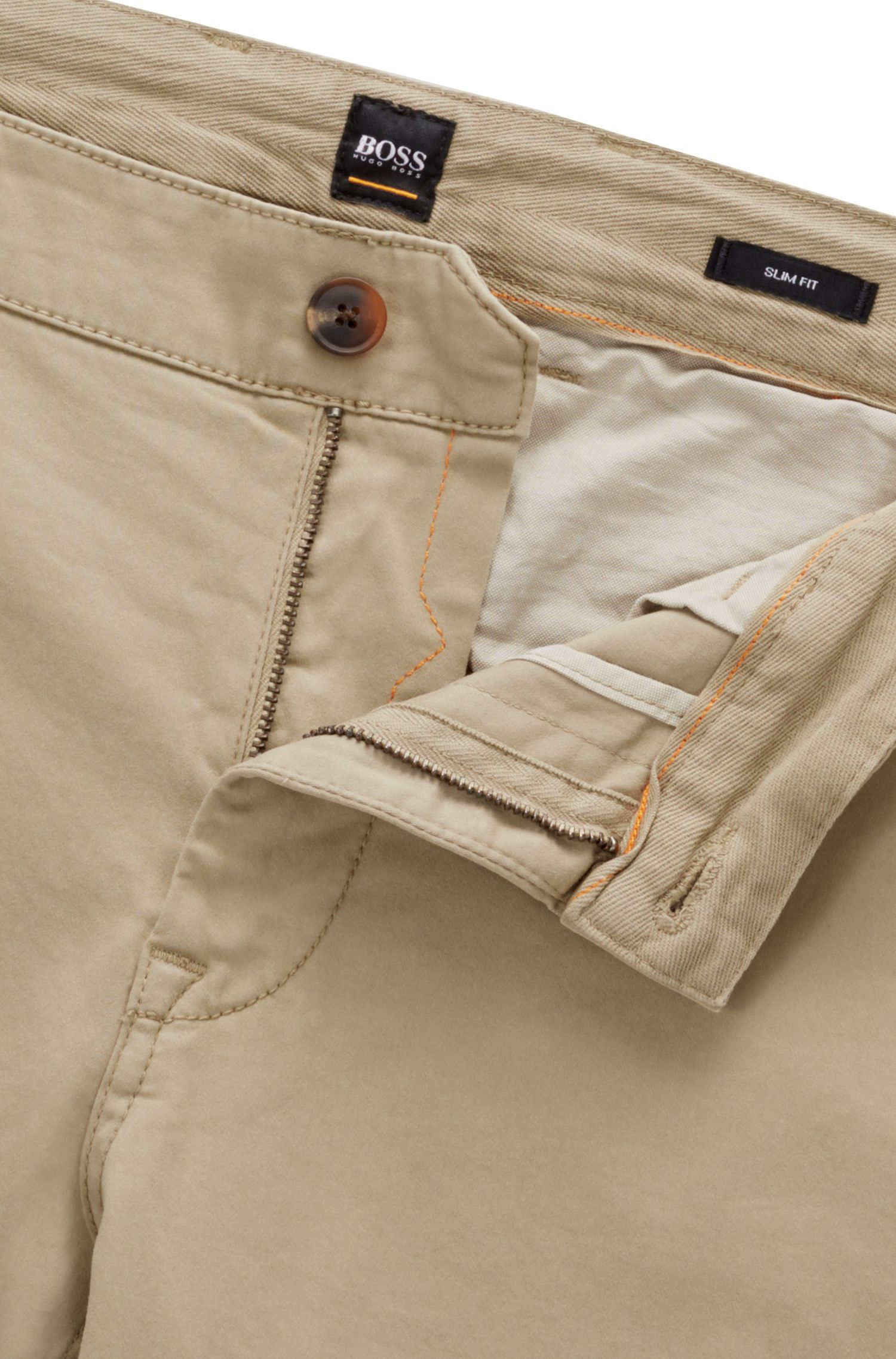 Slim-fit casual chino van geborstelde stretchkatoen