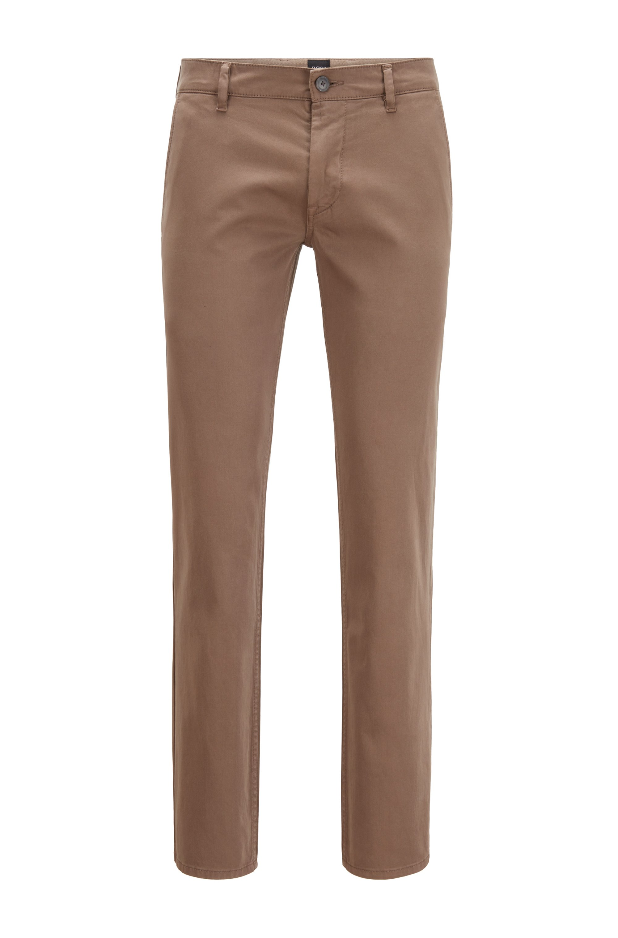 Slim-fit casual chinos in brushed stretch cotton, Khaki