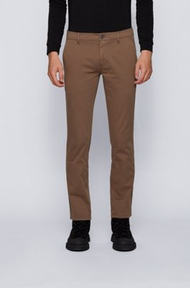 Slim-fit casual chino van geborstelde stretchkatoen, Kaki