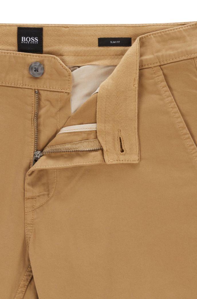 Chinos casual slim fit de algodón elástico cepillado