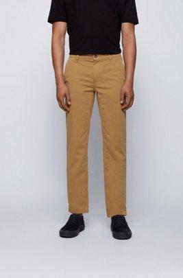 Chino casual Slim Fit en coton stretch brossé, Beige