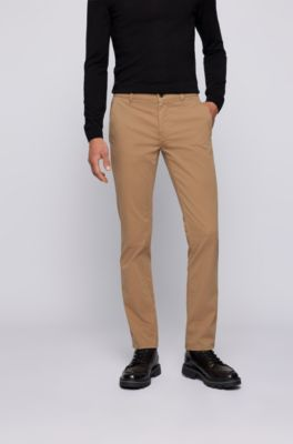 Hugo Boss Beige Rice Chino Slim Fit Trousers Size 42 Regular RRP-£109